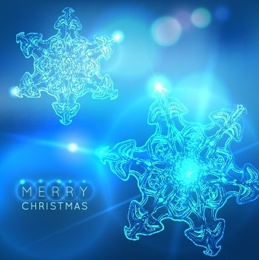 neon snowflake new year and christmas background