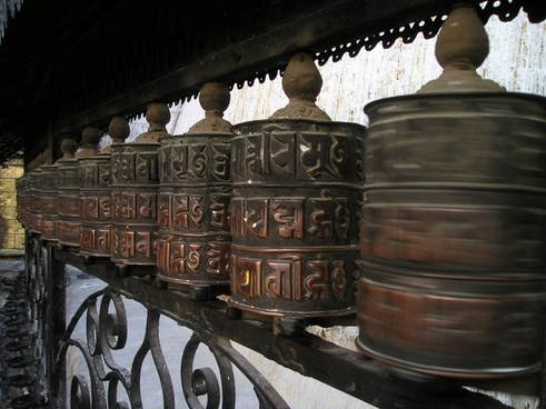 nepal prayer wheels turn
