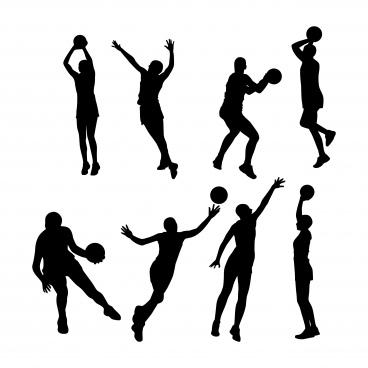 netball silhouettes set
