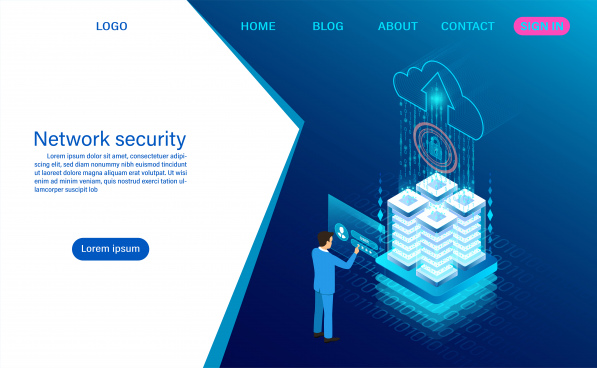network data security concept data processing protection digital information flat isometric vector illustration