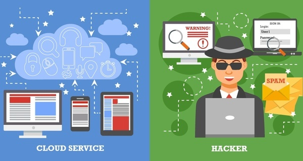 network security concept with cloud service and hacker