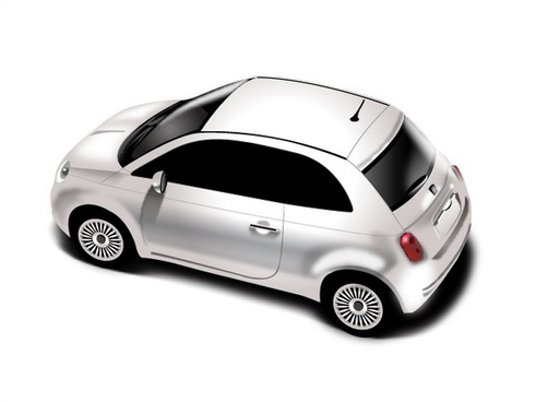 white hatchback car design in realistic style