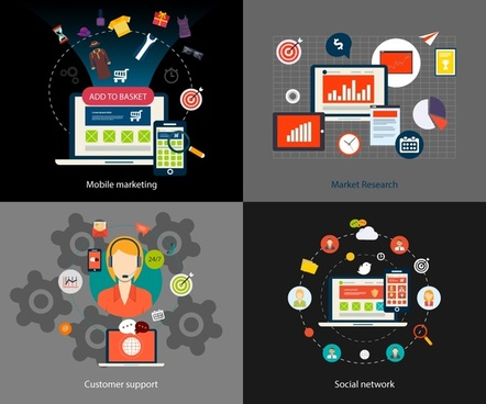 new marketing concepts illustration with computing icons