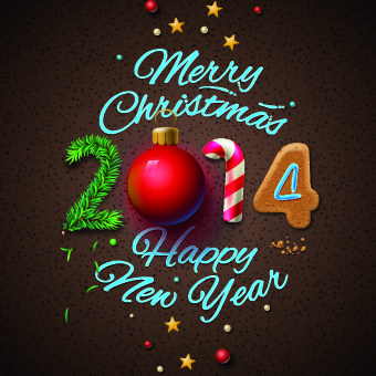 new year14 christmas deisgn vector