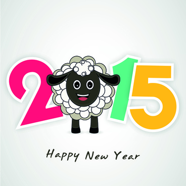 new year15 text design set vector