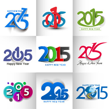 new year15 text design set vector