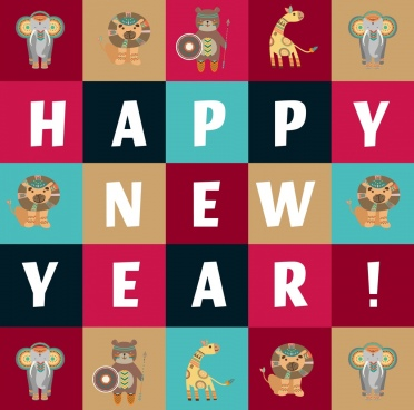 new year background animal icons isolation bohoh style