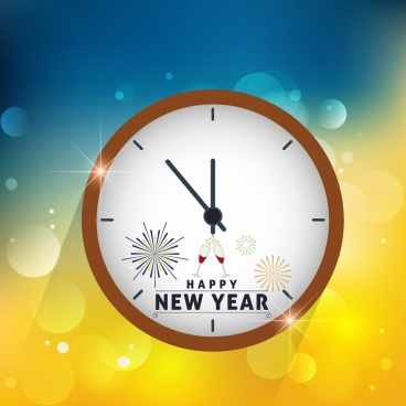 new year background round clock icon decoration