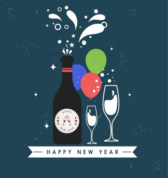 new year background wine bottle glass icons decor