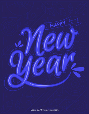 new year banner dark blue design calligraphic decor