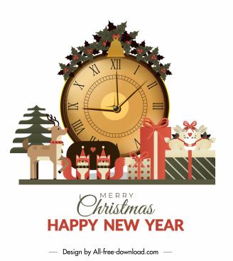new year banner elegant flat christmas elements decor