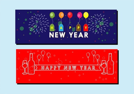 new year banner sets colorful and silhouette styles