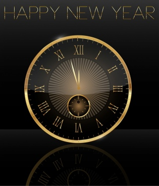 new year banner shiny golden round clock icon