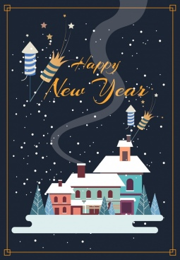 new year banner snow houses icons classical design