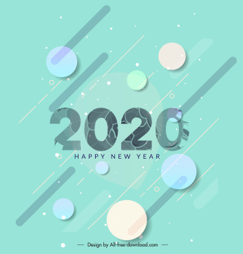 new year banner template bright modern circles decor