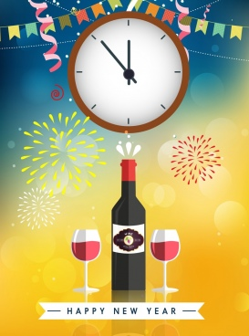 new year banner wine glass clock fireworks icons