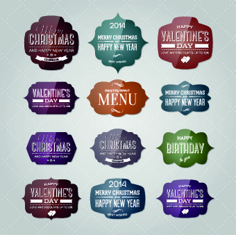new year christmas and valentine glass labels vector