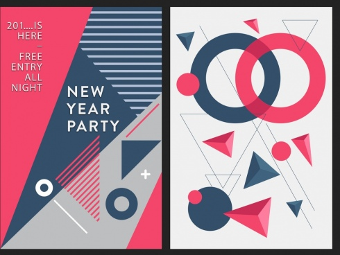 new year party banner abstract geometric decor