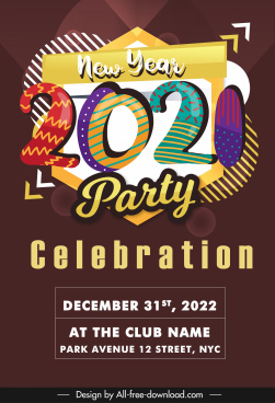 new year party banner colorful handdrawn decor