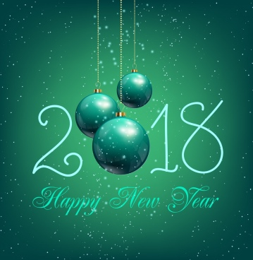 new year poster shiny green baubles texts decor