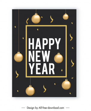 new year poster template shiny bauble balls decor