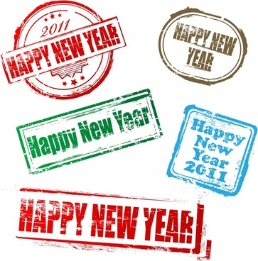 new year stamps templates retro colored grunge decor
