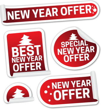 new year sale promotion shaped labels icons collection