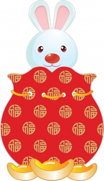 chinese culture icon cute rabbit sketch traditional clothes