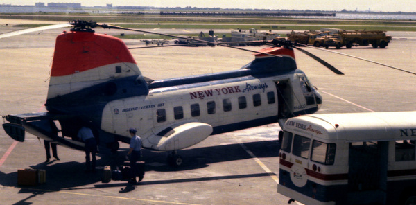 new york airways helicopter at jfk airport in 1967 after flying from the top of the pan am building in downtown new york city another view