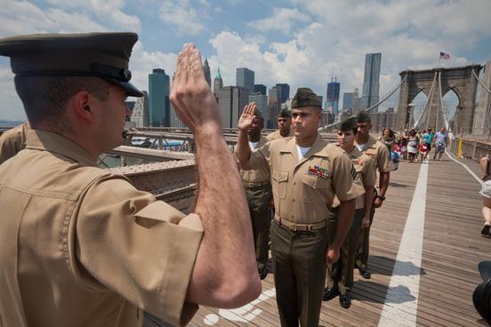 new york marine reenlists on brooklyn bridge aug 4