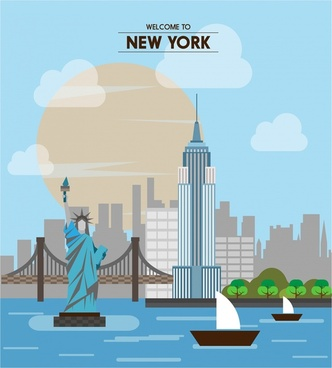 new york promotion banner famous destination design