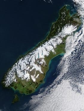 new zealand south island satellite photo