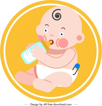 newborn baby icon bottlefeed gesture cute cartoon sketch