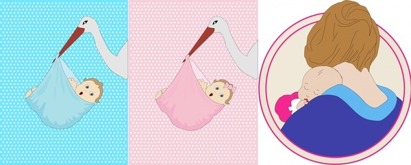 newly born babies design set vector illustration