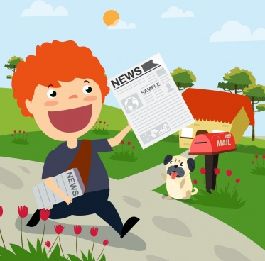 news advertising boy icon colored cartoon