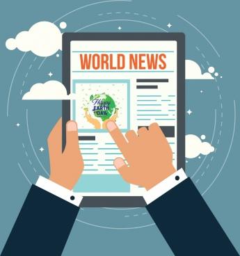 news broadcasting theme smart device hand icons