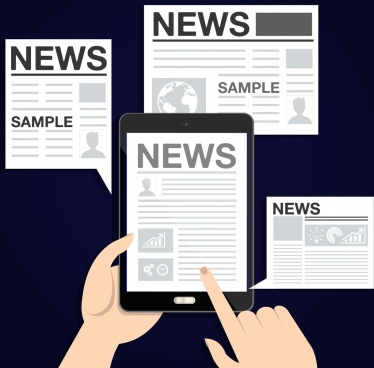 news design elements newspaper tablet icons
