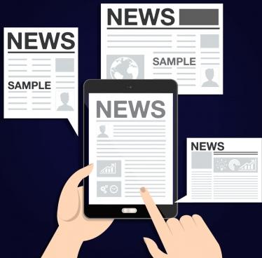 news design elements newspaper tablet icons