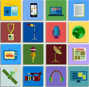 news design elements various colored symbol flat design