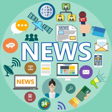 news design elements various flat symbols isolation