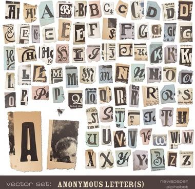 newspaper alphabet tear marks vector
