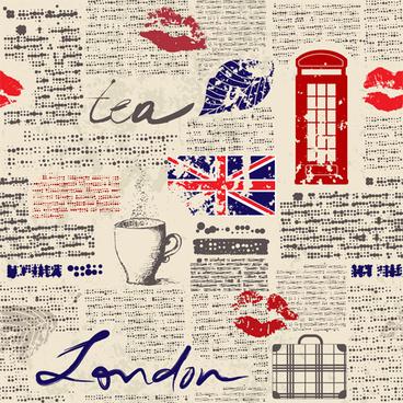 newspaper style stylish patterns vector