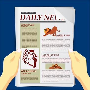 newspapers outline with lions illustration