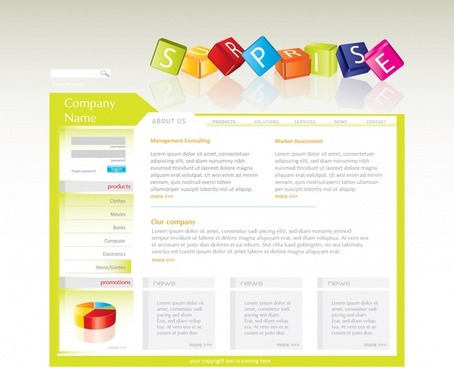 webpage template colorful modern design