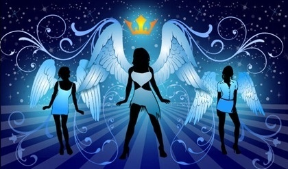 night angels background silhouette style classical curves decoration
