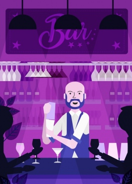 night bar background dark violet design bartender icons