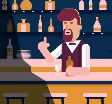 night bar drawing bartender icon colored cartoon