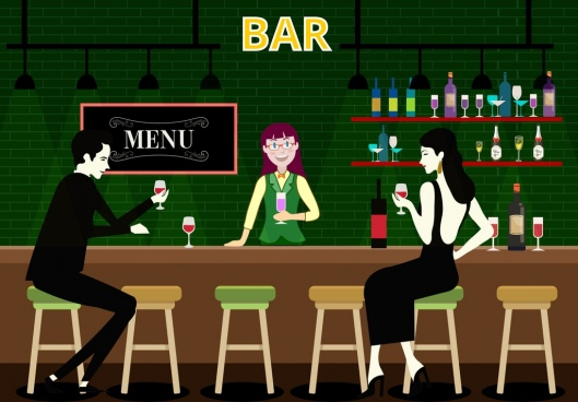 night bar drawing guest bartender icons colored cartoon