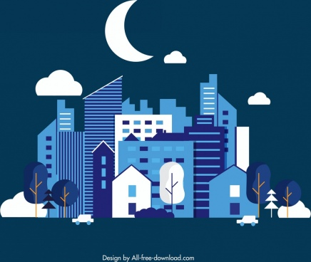 night city background buildings crescent icons dark design