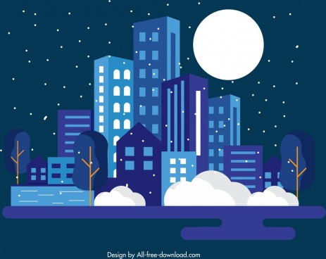 night city background buildings moonlight icons dark design
